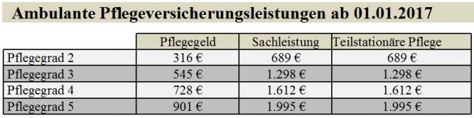 Ambulante Pflegeversicherungsleistungen ab 01.01.2017 / Fiala / Schramm / Fiala / Schramm / Eigenes Werk