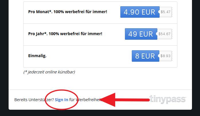 Login für Werbefreiheit / Screenshot / np / np