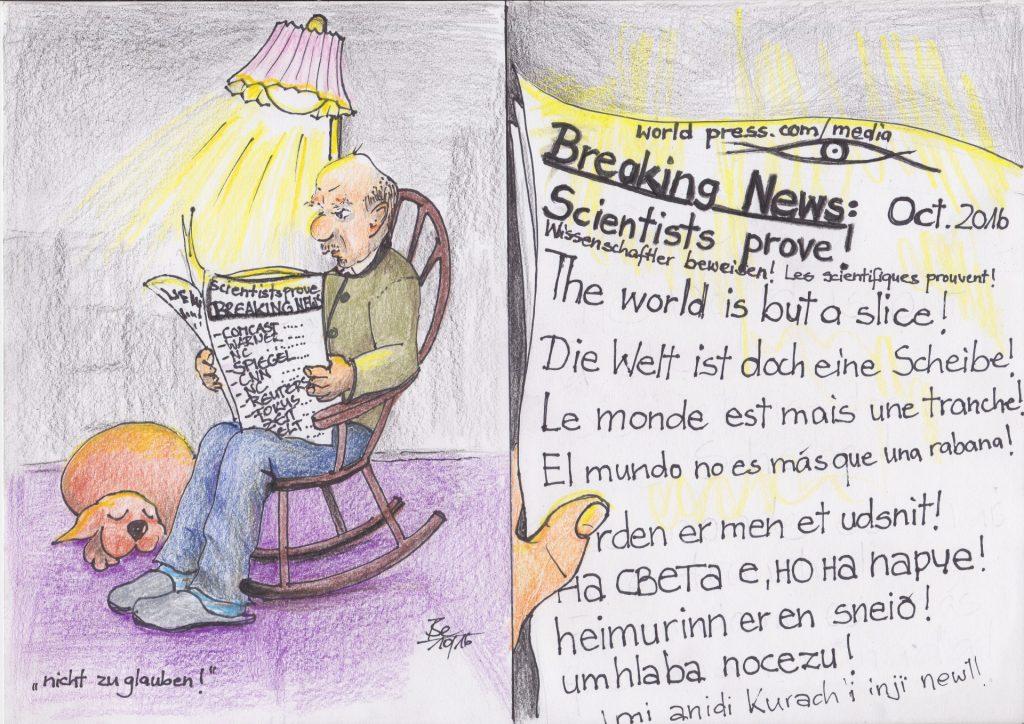"""Cartoon: """"nicht zu glauben!"""" / Bé Schmidlin / Eigenes Werk / Eigenes Werk"""