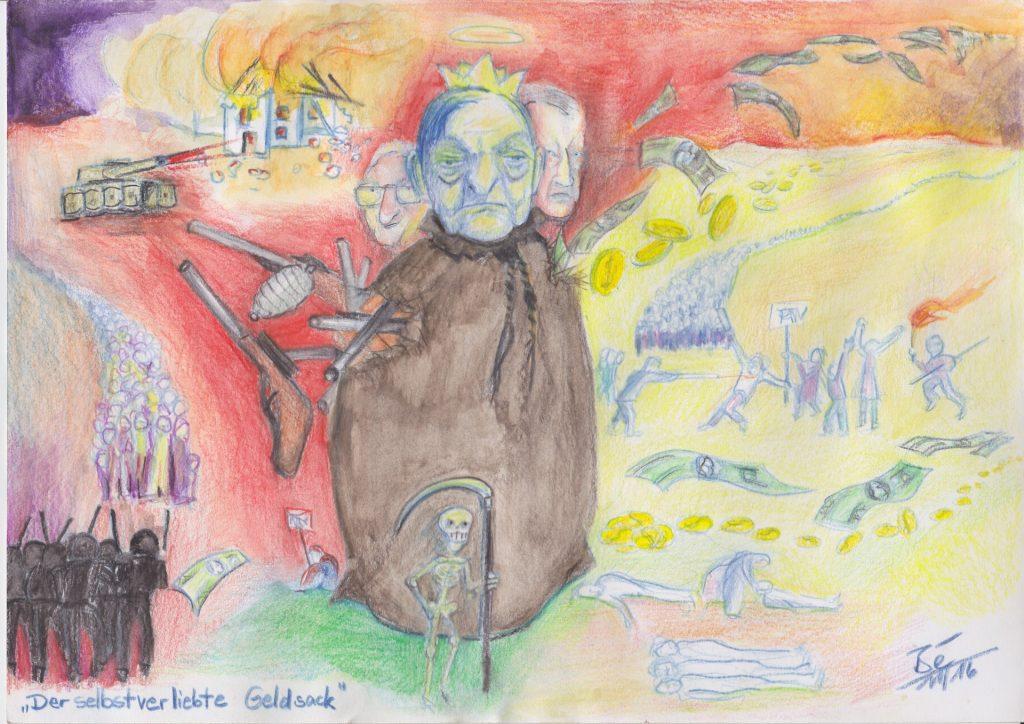 "Cartoon: ""Der selbstverliebte Geldsack"" / Bé Schmidlin / Bé Schmidlin / Eigenes Werk"
